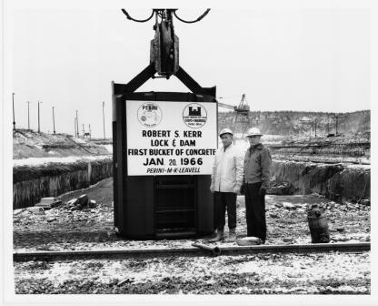 First bucket of concrete at R.S. Kerr Lock and Dam